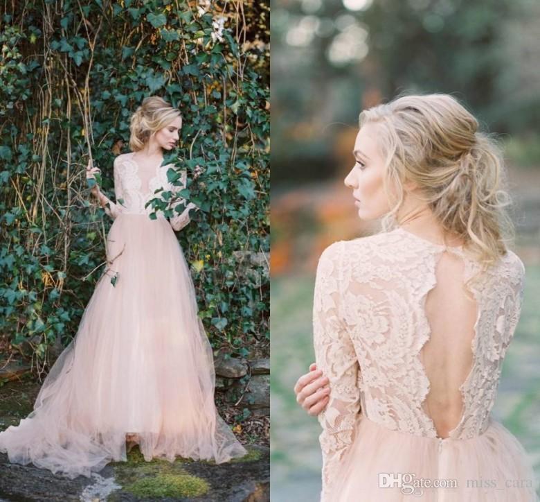 Vintage Lace Bohemian Blush Wedding Dresses V-neck Long Sleeves A-line Tulle Backless Bridal Dresses Vintage Cheap Country Wedding Dress