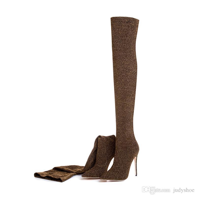 2018 hiver violet vert bottes sur le genou cuisse haute bottes bling bling sexy hauts talons chiffons à paillettes glisser sur les chaussures femmes plus la taille