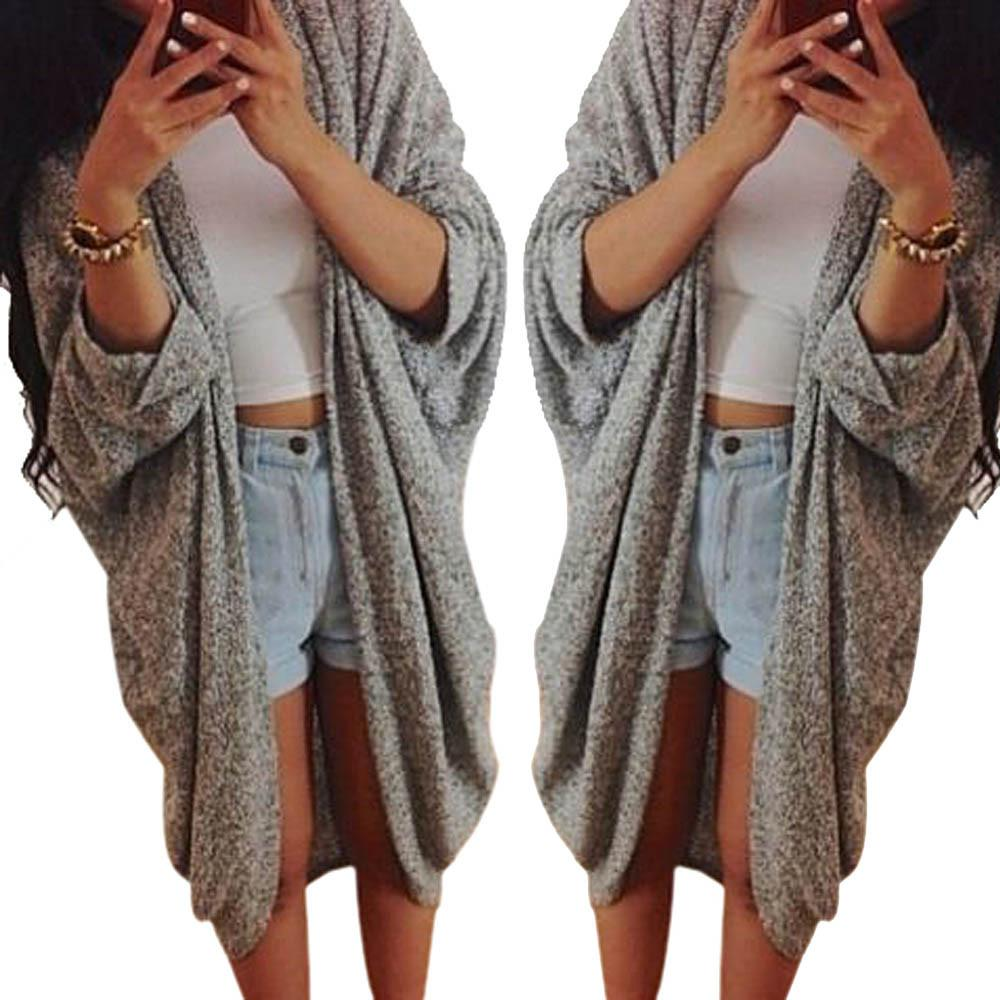 Wholesale-Fashion Womens Lady Casual Knit Sleeve Sweater Autumn Winter Coat Loose Cardigan Poncho Fashion Jacket Camisola Feminina Gifts