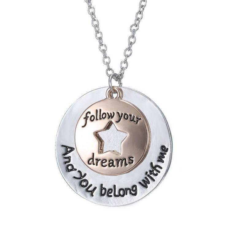 Liebhaber Brief Familie Liebe Halskette runden Stern Anhänger Silber Gold Schmuck Geschenk folgen Sie Ihren Träumen und Sie gehören mit mir Anhänger Halskette