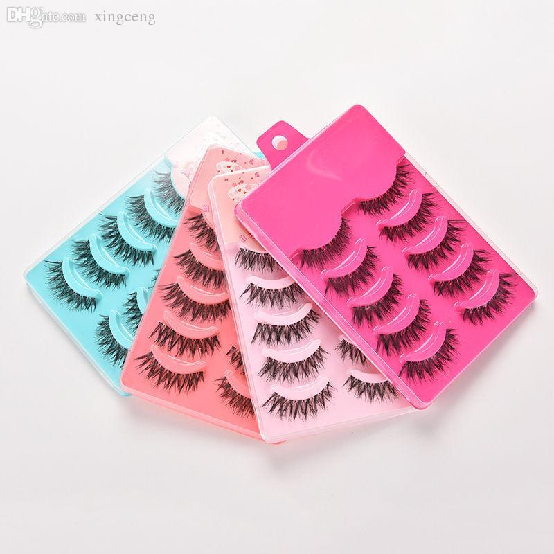 Großhandels5pairs falsche Bandwimpern Beauty Essentials-falsche Wimpern Set Hand Made Gewirr-Augen-Peitsche-Verlängerungs-Werkzeuge
