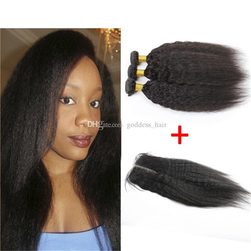 Paquetes peruanos del pelo recto perverso 9A con el cierre 4pcs / lot Pieza libre italiano Yaki grueso del encierro del cordón con el pelo humano