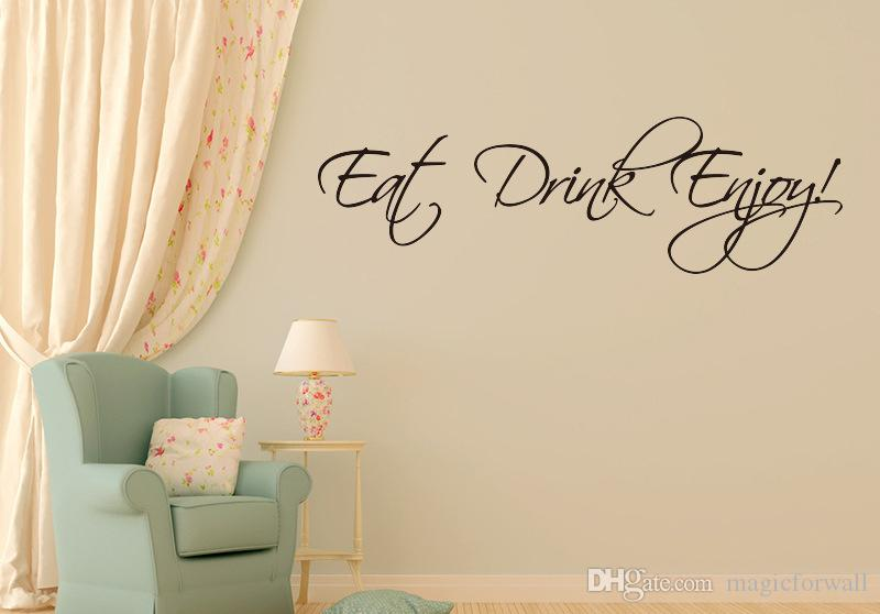 Eat Drink Enjoy Wall Quote Decal Stickers Home Decor English Words Monogram Wall Art Mural Poster