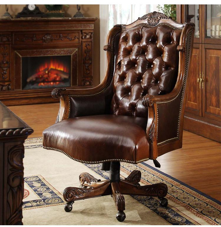 Solid wood leather swivel chair. Manual carve patterns or designs on woodwork big chair. & 2018 Solid Wood Leather Swivel Chair. Manual Carve Patterns Or ...