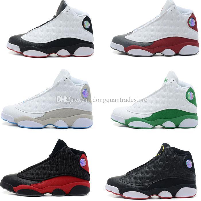 Haute Qualité 13s Hommes Chaussures De Basket-Ball En Cuir 13s Noir Toe 13s Bred Marine Jeu Gris Toe Flint Gris Sneakers