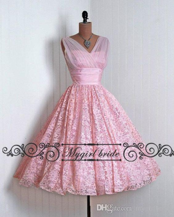 Pink Vintage Homecoming Dresses Lace Tea Length A Line Short Prom ...