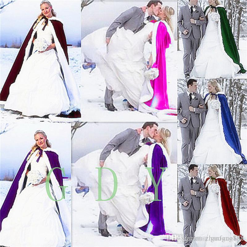 2020 Wedding Bridal Fantasy Full Length Hooded Cape White Fur Muff Satin LIning And Ultra Warm Fill Winter Women's Cloaks