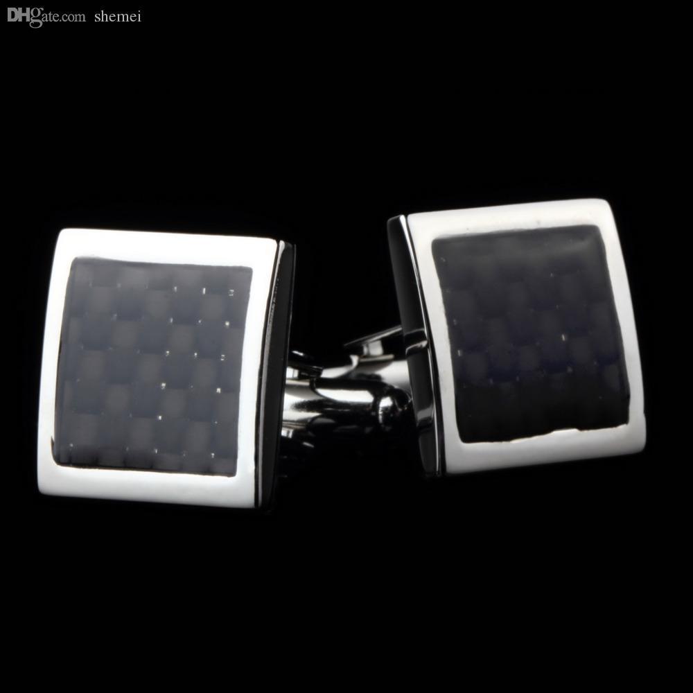 Wholesale-Newest 2016 1 Paar Vintage Herren Edelstahl Silber Quadrat Hochzeit Geschenk Grid Laser Manschettenknöpfe Drop Shipping
