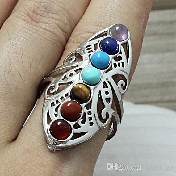 Anello in argento con chakra, 7 cristalli di guarigione in pietra di quarzo con pietre preziose a forma di farfalla arcobaleno, anello con dita, medaglione, anello regolabile