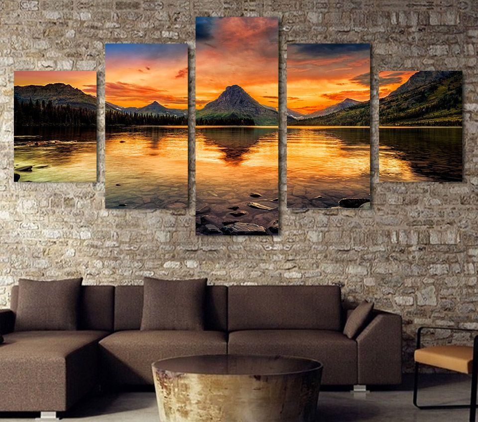 5 Pcs / Set Sem Framed HD Impresso cenário medicina lago glaciar tela de pintura imagem sala de impressão decoração cartaz Impressão em tela Frete grátis