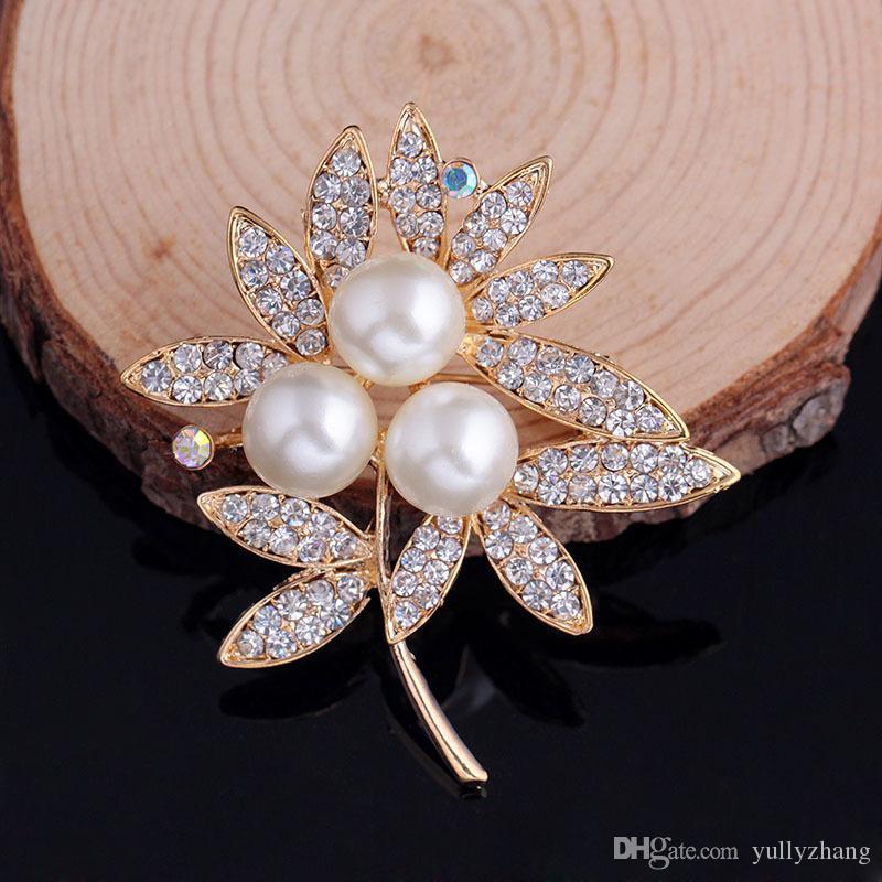 6pcs/lot Fashion pearl brooch pinsHight Quality White Crystal pin Brooch Bouquet Rhinestone Brooches pin 2016 wedding dress accessoriesB077