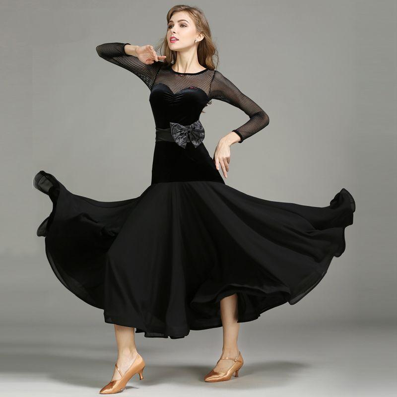 Vestidos de competición de baile de salón para mujeres vestido de baile estándar vestidos de baile de vals D0165 Tango Chacha negro rojo manga de malla