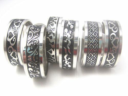 도매 30pcs 8mm 블랙 에칭 세련된 안에 스테인레스 스틸 세련된 반지