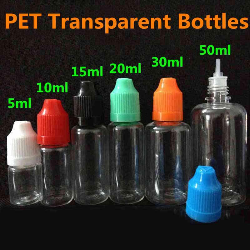 E Garrafas de ponta de agulha líquida Pet transparente vazio 5ml 10ml 15ml 20ml 30ml 50ml frasco de conta-gotas plástico com tampa de criança colorida DHL