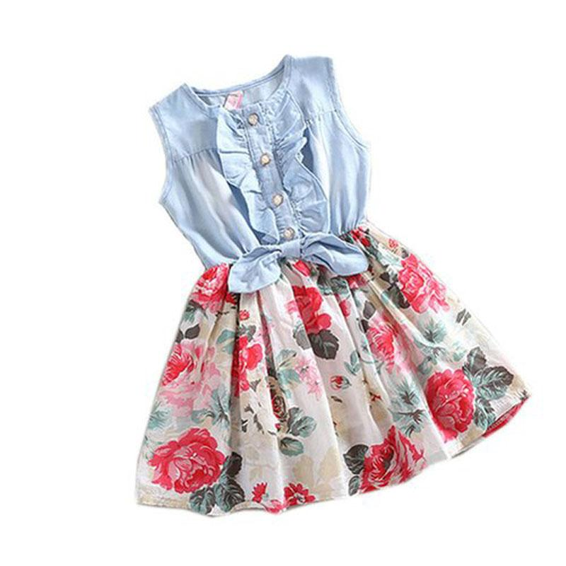 Al por mayor-2017 Top recomiendan los niños vestido de la muchacha del bebé del tinte del dril de algodón del vestido de manga corta faldas del partido de la princesa del cordón de la acción completa