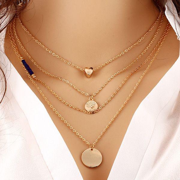 10 teile / los Sommer Stil Gold Schmuck Mode Frauen Multi Layered Halskette Liebe Münzen Runde Purpurrote Strass Charm Anhänger Halskette