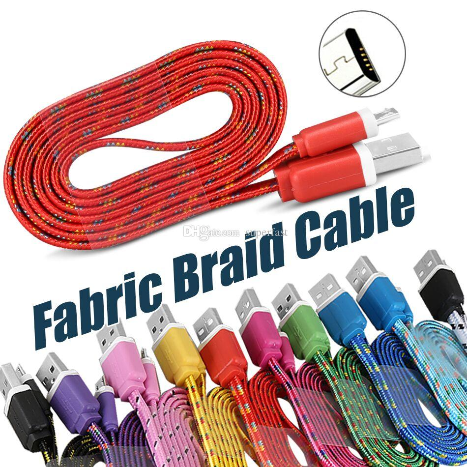 Fabric Colorful USB Charging Cable USB Cable Charger Sync Data Mirco USB 1M/3FT Strong Cable For Cellphones without Package