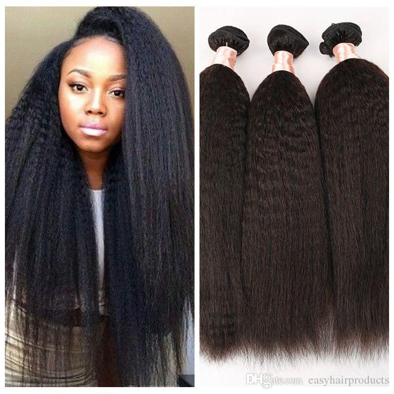 Top Grade 100% unprocessed Brazilian Kinky Straight hair Weave 3pcs light coarse yaki human hair bundle italian yaki straight hair G-EASY