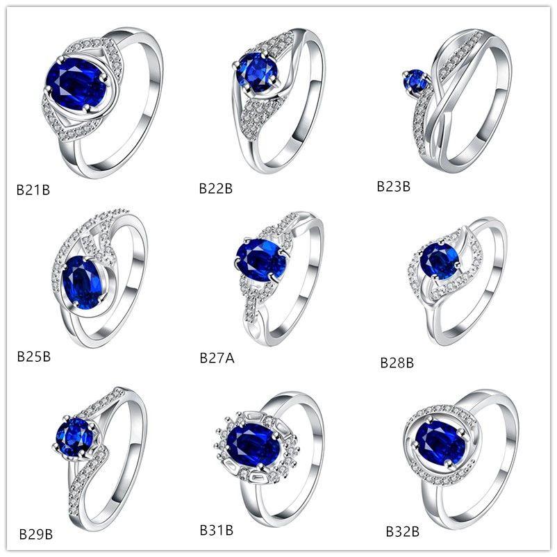 Estilo misto alto grau de moda azul pedra preciosa anel de prata 925 anel EMGR10, forma Carta deixa banhado anel de prata esterlina 10 peças muito