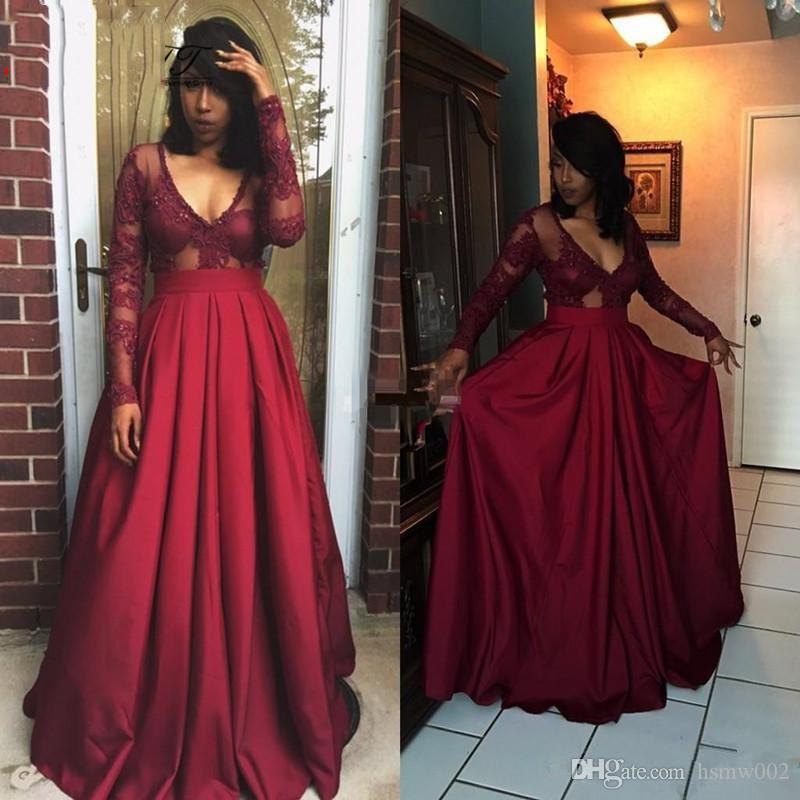 Sexy V-Ausschnitt Burgund A-Linie Abendkleider Mode lange Ärmel Top-Spitze-formale Partei-Kleider elegantes lange Abendkleid