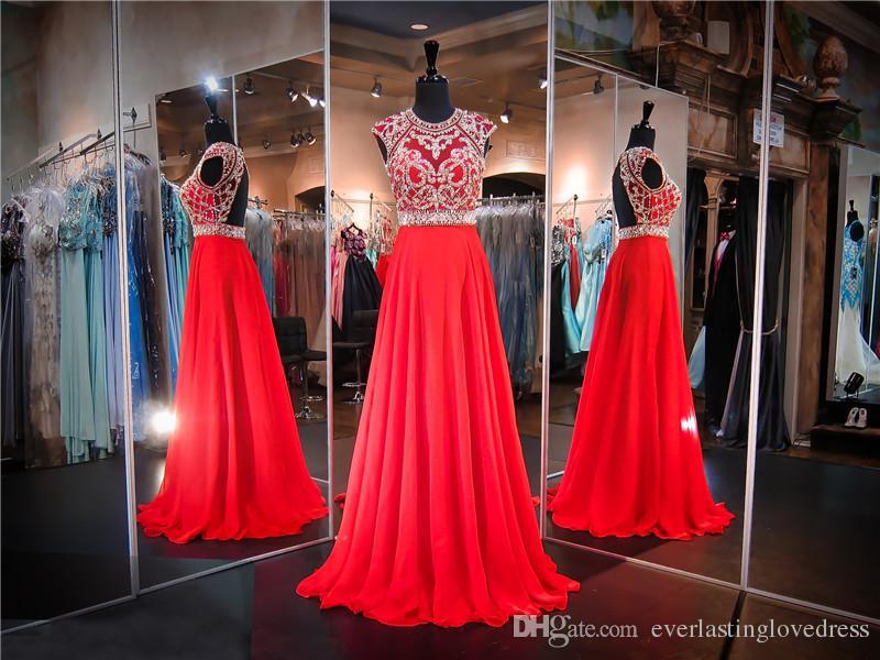 Red Cap manches ouvertes dos en mousseline de soie à la main perles robe de bal haute manches haut du cou cristaux robe de soirée supérieure robes Pageant