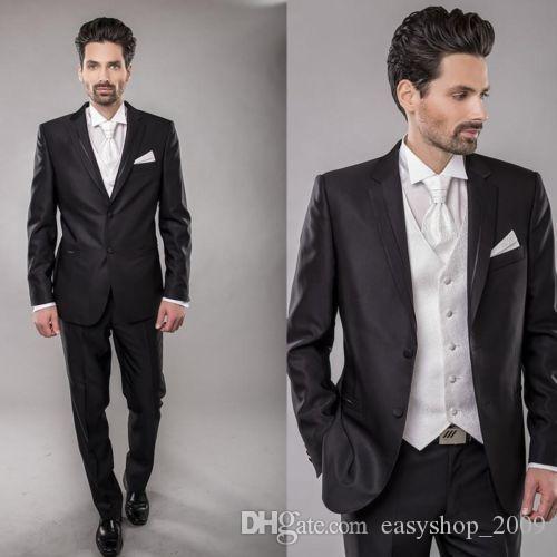 New Black groom tuxedo lapel groom best men's wedding suit custom and men's business suit 2 pieces