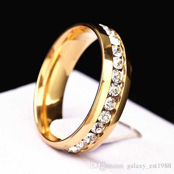 lotti all'ingrosso 36pcs una fila cerchio completo cz pietra d'oro lucido in acciaio inox gioielli da sposa anelli di fidanzamento