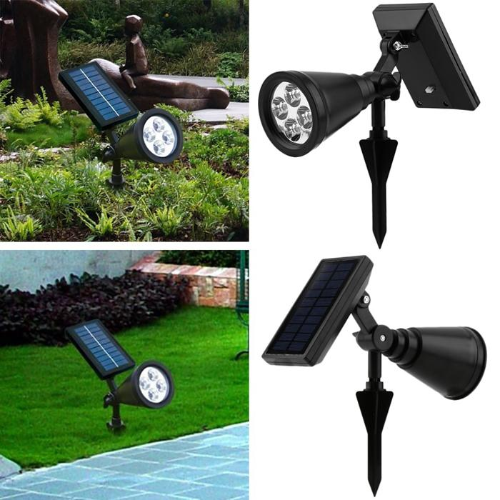 Новый arrvial солнечная энергия 4 Яркий светодиодный белый / теплый белый RGB 3 Цвет автоматический выключатель Открытый сад путь парк газон лампа пейзаж пятно света
