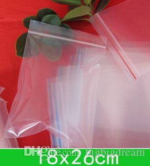 뉴 클리어 PE 가방 도매 + 무료 배송 100PCS를위한 (18x26cm) 다시 봉합 할 수있는 폴리 가방, 지퍼 가방 / 많은