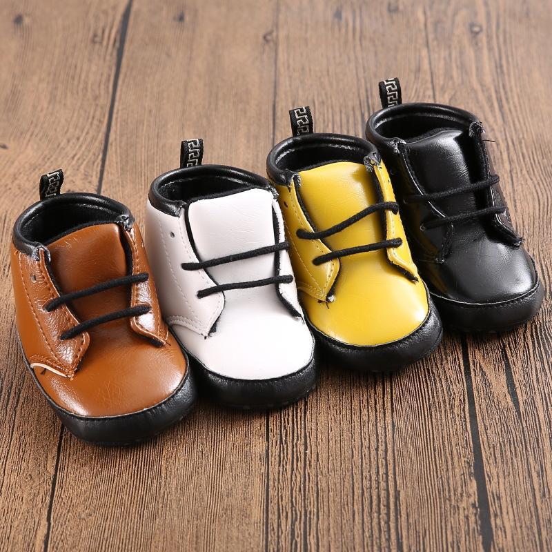 Wholesale- 4Color 3Size Newborn Baby Kids Boy Girl Prewalker Shoes Footwear Infant Toddler PU Leather Soft Bottom Anti-slip Boots Booties