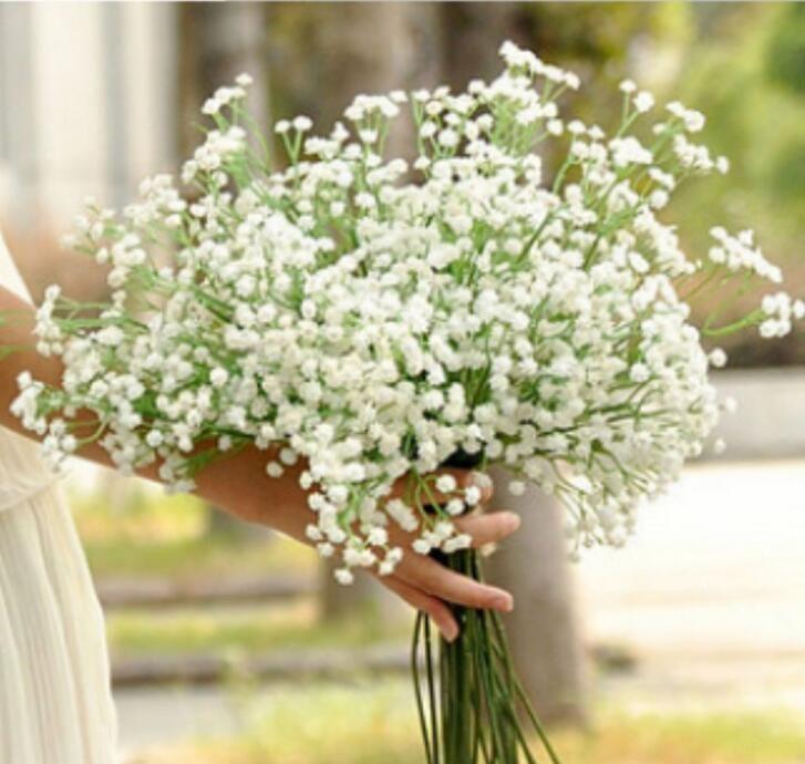 3Color 45CM Gypsophila Fleur Artificielle Bouquet De Mariée Souffle De Bébé Artificielle Faux Soie Plante Fleurs pour La Maison De Mariage Décoration NN