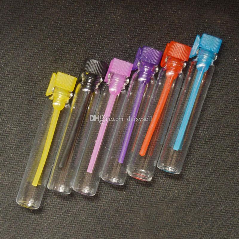 Flacon de parfum en verre Mini huile essentielle rechargeable 1ML 2ML 3ML échantillon liquide de parfum bouteille testeur bouteille tube bouchon coloré