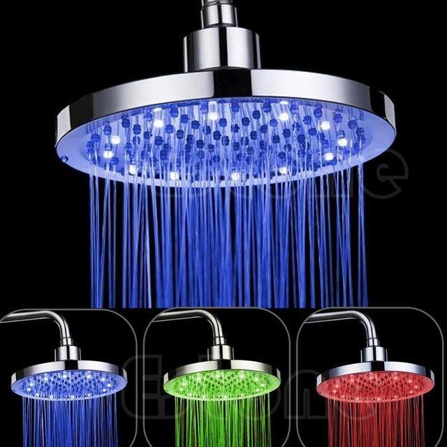 8 بوصة RGB LED ضوء جولة الأمطار حمام دش رئيس اللون تغيير RGB LED رأس دش