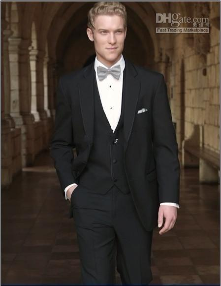 2 Buttons Black Groom Tuxedos Notch Lapel Groomsman/Men Suits (Jacket+Pants+Tie+Waistcoat)