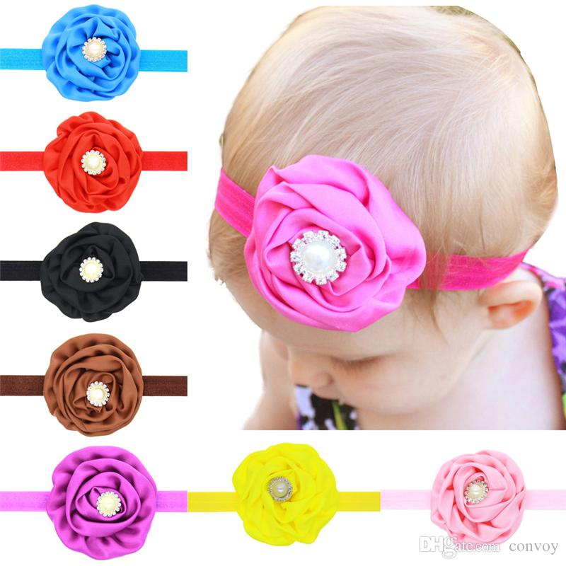 Baby Headbands Flowers Satin Rose Head Bands Children Hair Accessories Rhinestone Pearl Hairbands Princess Headdress Elastic Headwear KHA168