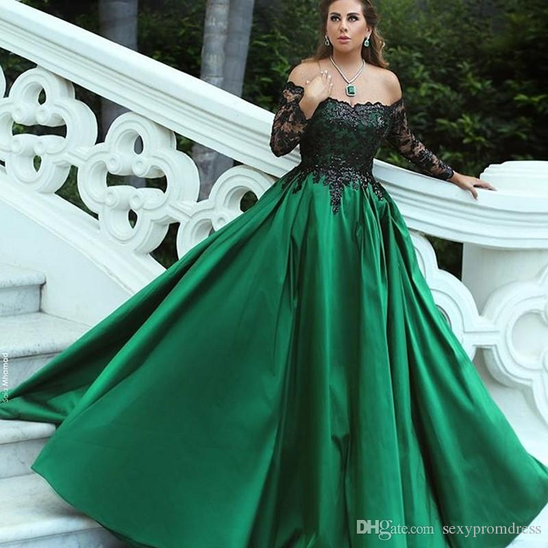 Compre Encaje Negro Fuera Del Hombro Vestidos De Noche Verde Satinado Una Línea De Manga Larga Vestidos De Baile Arabia Saudita Vestido De Fiesta