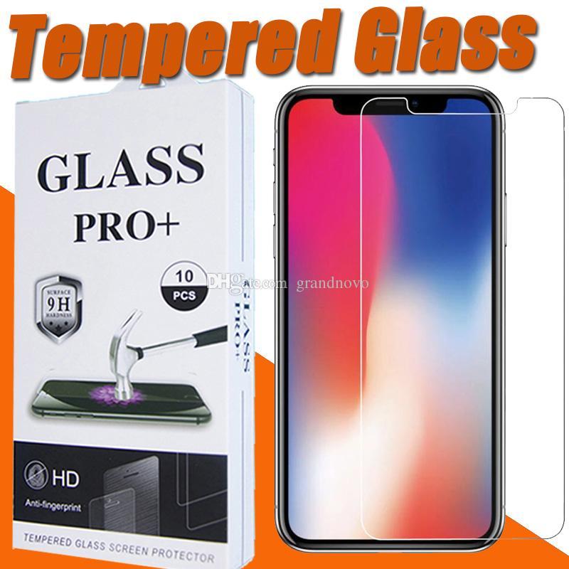 9H Premium Şeffaf Temperli Ekran Koruyucu Film Guard iPhone 12 Pro Max 11 XS XR X 8 7 6 6S Artı 5 5S SE 2020 Paketi withe
