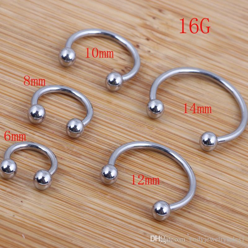 Anillo de nariz 100pcs / lot mezcla 6/8/10/12 / 14mm anillo de herradura de la joyería del cuerpo de acero inoxidable