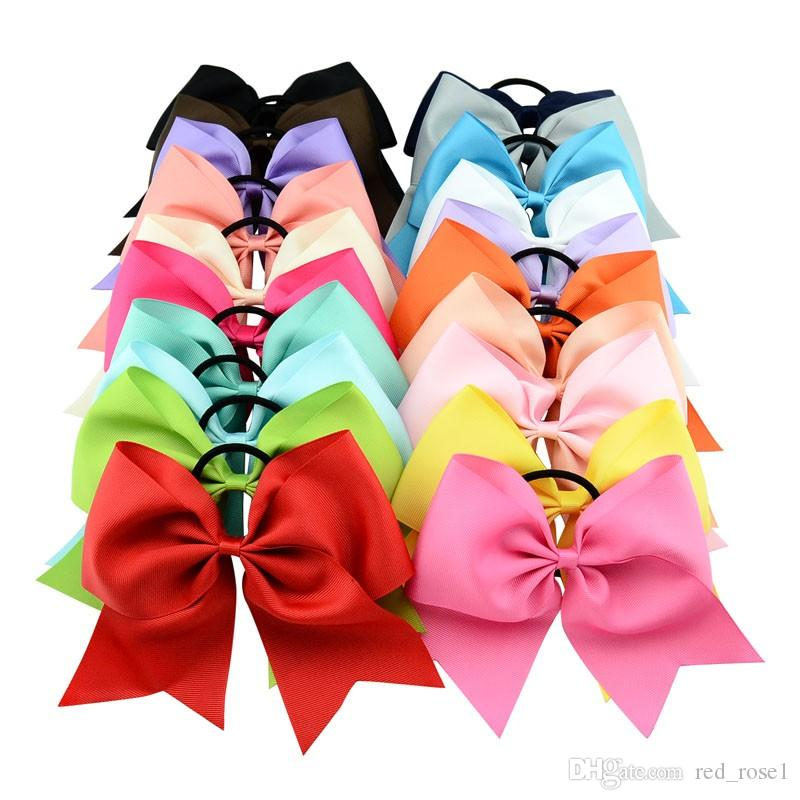 40st / mycket 8 tum Solid Cheerleading Bow med elastiskt bandband Cheer Bow med hästsvans för flicka Boutique Hårtillbehör