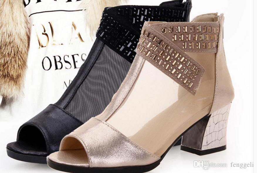 특별 제공 정품 브랜드 신발 2016 새로운 여름 샌들 큰 야드 큰 물고기 입 신발 가죽 부츠 그물