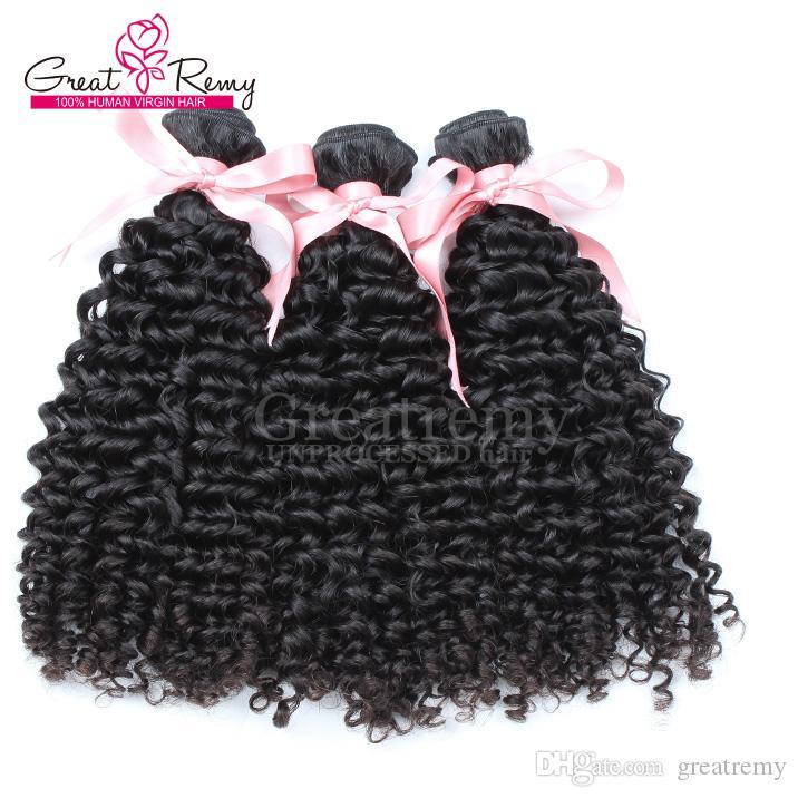 """3pcs / lot hårförlängning Peruvian Curly Wave Mänskligt hår 8 """"-30"""" Obehandlat hårväft Naturfärg 7A Grade Greatremy Drop Shipping"""
