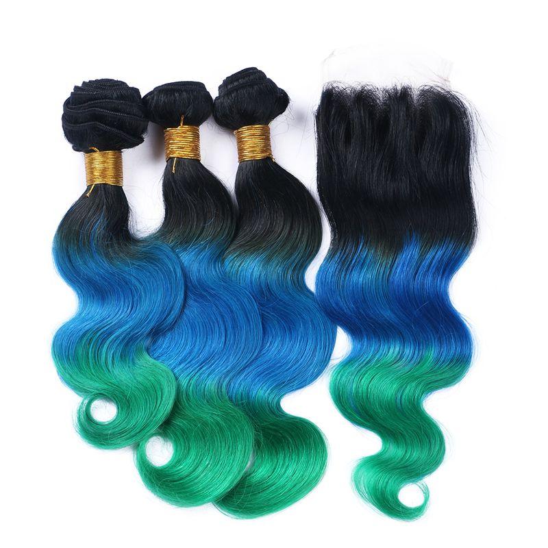 허니 금발 어두운 뿌리 바디 웨이브 헤어 번들로 폐쇄 금발 1B 푸른 녹색 머리는 4x4 레이스 클로저로 엮어 낸다.