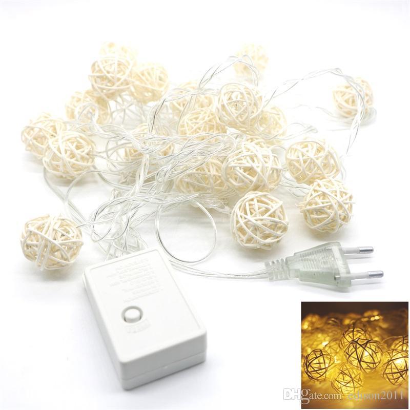 4M 20 LED Sıcak Beyaz Rattan Top Dize Aydınlatma Düğün Party Perde Dekorasyon Peri Işıklar Xmas Işıklar İç Mekanlar