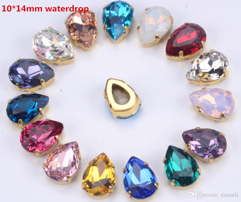 free shipping 30pcs/lot 10x14mm tear/waterdrop highest quality K9 sew on stones crystal beads with gold claw noany scratch dirty