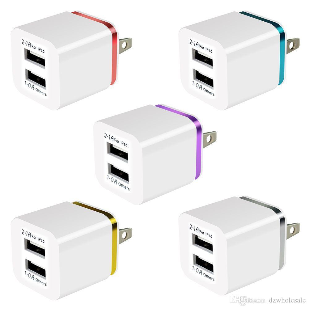 100Pcs / Lot Bunte 2A + 1A US-Stecker Wechselstrom-Adapter Startseite Trave Wand 2 Port Dual USB Ladegerät für IPhone 4 5 6 Plus 7 7Plus für Samsung HTC