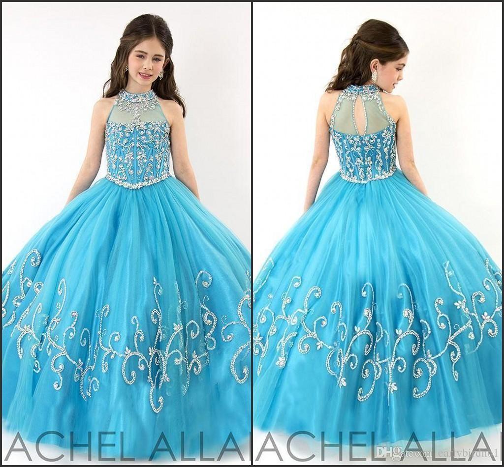 Rachel Allan Perfect Angels Meisjes Pageant Jurken 2016 Turquoise Halter Hals met Rhinestones Corset Ruffles Tulle Kids Prom Dress
