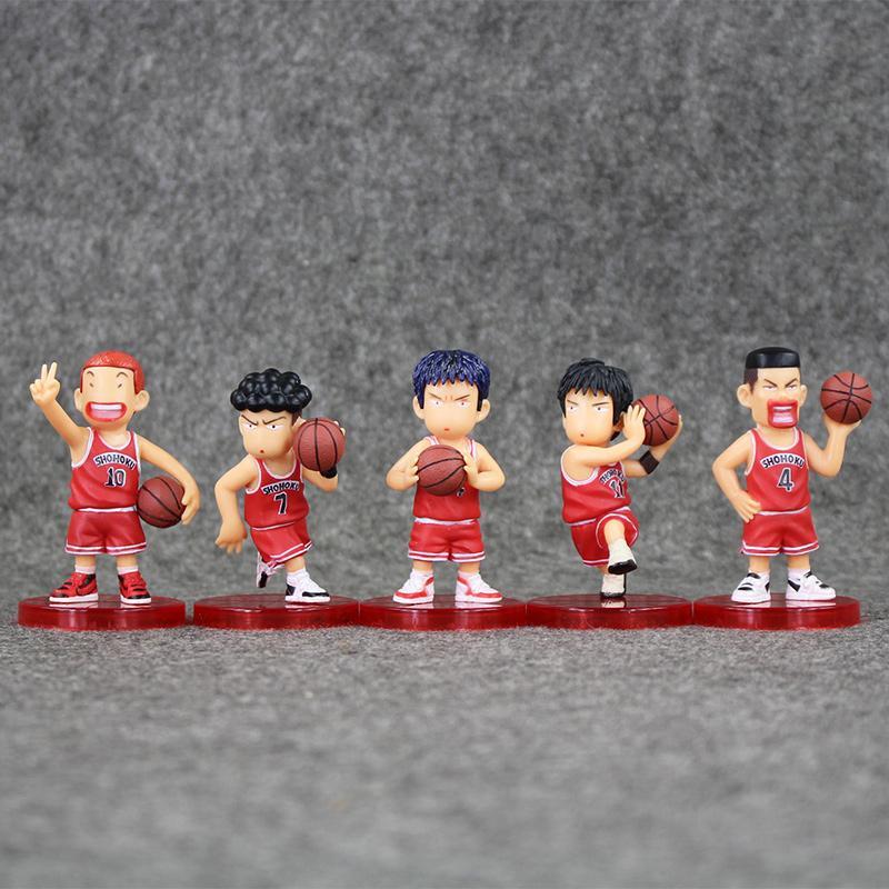 5pcs 7-7.5cm slam dunk Shohoku Rukawa Kaede / set PVC Action Figure da collezione modello giocattolo per i bambini di regalo al minuto il trasporto libero