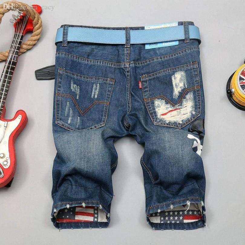 Wholesale-Fashion Beggar Plus Size Hole Shorts Casual 28~38 Men's Shorts Summer Scratch Men's Denim Shorts Nostalgia Classicial