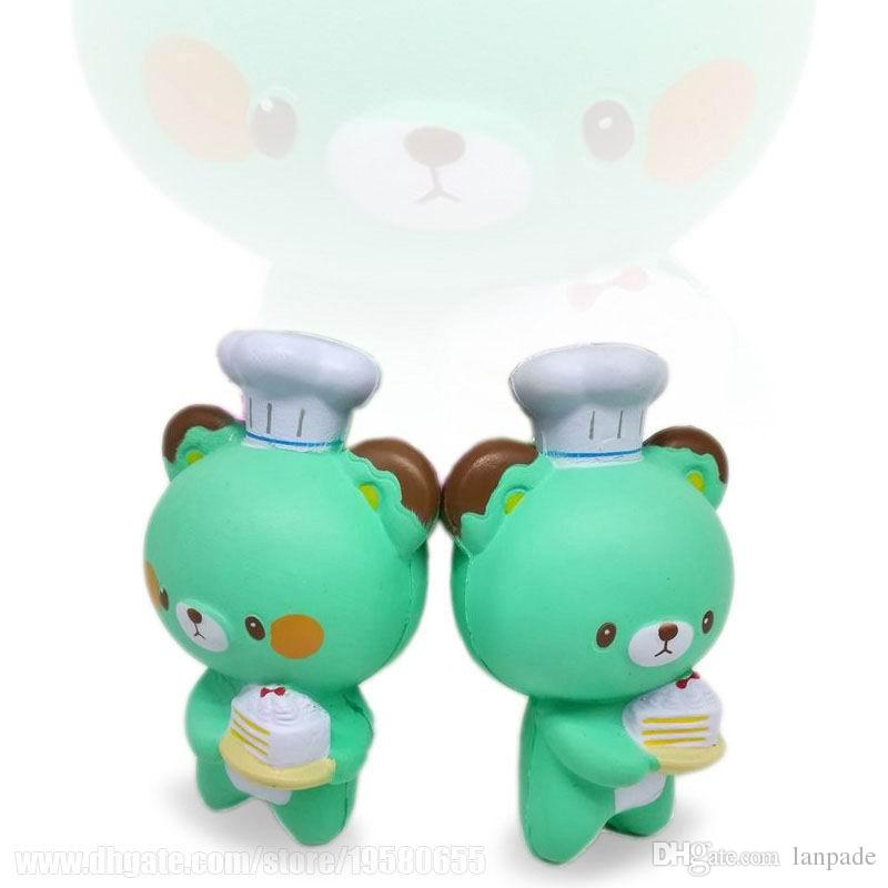 Kawaii Squishies Green Bear Squishy Cook Spicy Cute Toy Kids Relax Decoration