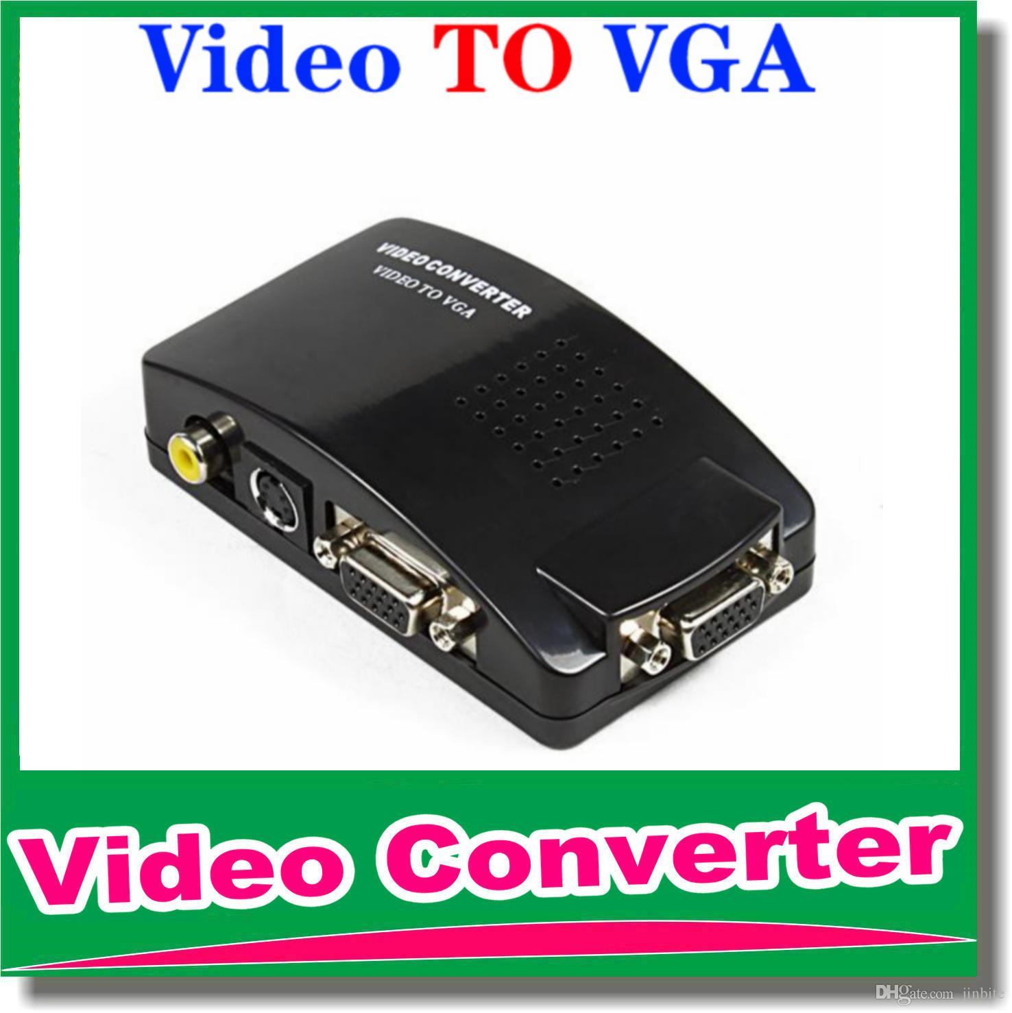 DHL Free shipping Universal PC VGA to TV AV RCA Signal Adapter Converter Video Switch Box Supports NTSC PAL for computer peripherals OM-CG8